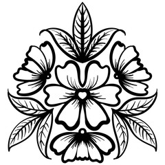 Wild rose flowers drawing and sketch line-art