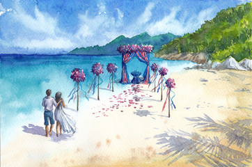 Watercolor hand-drawn picture with the wedding on the beach