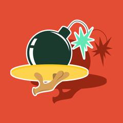 realistic paper sticker on theme humor bomb