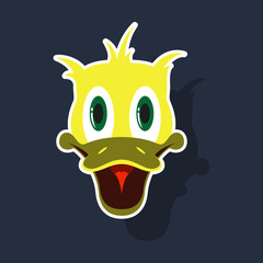 realistic paper sticker on theme funny animal duck