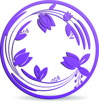 Laser die cut out tulip in a circle