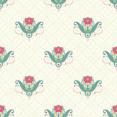 Vector seamless background. Beautiful oriental floral pattern. Delicate green and pink.