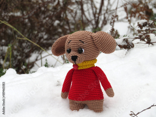 Knitted Toy Dog On The Snow Love Of Knitting Concept Lost Toy