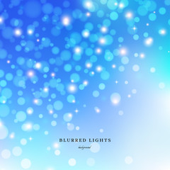 Abstract Vector Illustration. Blurred Lights on blue background with bokeh effect and stars.