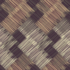 Seamless geometric pattern. Brown floor with wooden texture. Asian Mat. Scribble texture. Textile rapport.