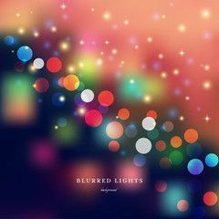 Abstract vector Illustration.  Blurred  Lights on colored background  with bokeh effect and stars.