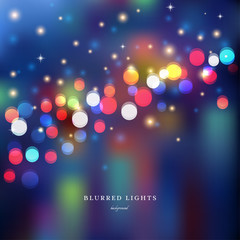 Abstract vector Illustration.  Blurred  Lights on colored background  with bokeh effect and stars. The image looks like a city at night.