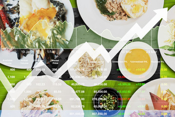 Stock index data analysis of food business with variety of exotic local Thai food background.