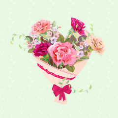 Heart with bouquet of pink, red flowers. Valentine's Day card. Carnation schabaud, spring blossom (branches apple tree flowers), buds, leaves, green background. Digital draw, watercolor style, vector