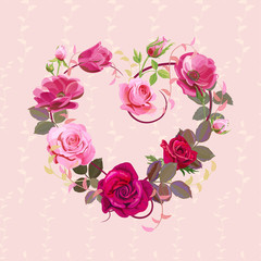 Heart of flowers. Valentine's Day card. Red, pink roses, purple anemones, green twigs, buds, leaves on vintage background. Digital draw, concept for design in watercolor style, vector