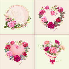 Collection of square Valentine's Day card: bouquets of pink, red flowers (roses, carnations, anemones), buds, leaves, spring blossom, decorative hearts. Digital draw, vintage watercolor style, vector
