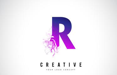 R Purple Letter Logo Design with Liquid Effect Flowing