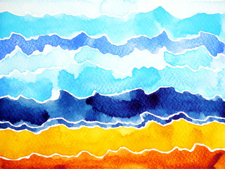 abstract watercolor painting mountain range, sea ocean wave, cloud sky, hand drawn illustration design