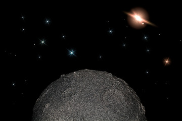 Moon and stars in space. Simple child-like planetary science and astronomy background image.