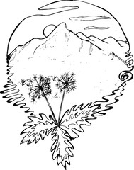 Black and white drawing of mountains, sun, clouds, dandelions in the foreground, in the style of a tattoo