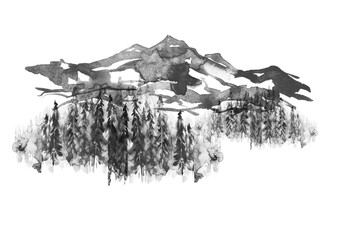 Watercolor picture of mountains, rocks, peaks. Coniferous forest, pine, spruce, fir, cedar. Black silhouettes. Abstract vintage spots of black, white. On a white background. Postcard, logo, poster.
