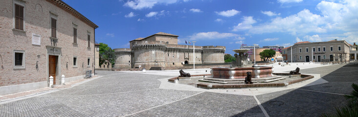 "Senigallia - Italy - Panorama of ""Piazza del Duca"" with the ""Rocca Roveresca"" and ""Palazzetto Baviera"""