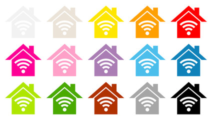 Houses Color Icons Wi-Fi