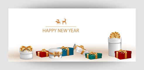 Horizontal design background with white gift boxes and a gold bow. Template Invitation For Happy  New Year, Merry Christmas. For a banner, postcards. flyer. Vector