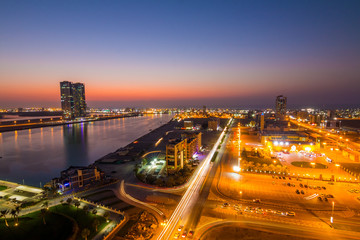 Aerial view to Ras Al Khaimah from the bar located on the top of the hilton hotel