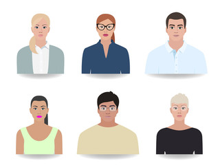 People of different portraits, icons vector illustration
