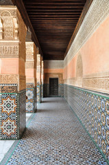 A beautifully decorated, covered corridor in Marrakech, Morocco