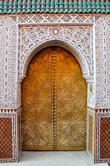 Ornate door in Marrakech in Morocco