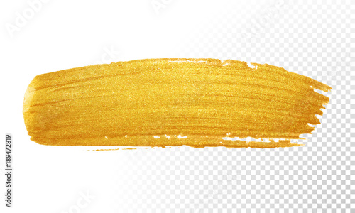 Gold color paint brush banner  Acrylic golden smear stroke stain on