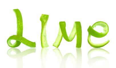 The word lime is made of peel, isolated on white background