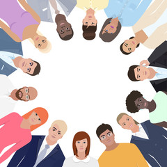 Group of people standing in a circle, vector illustration