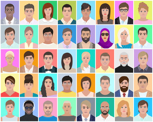 Many portraits of people, vector illustration