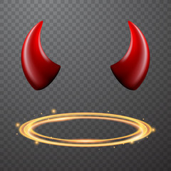 Set of a horns and a halo, nimbus, vector design