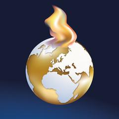 terre - environnement - destruction - symbole - exploitation - feu - flamme - ressource