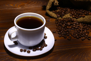 Coffee in a white pot, coffee beans