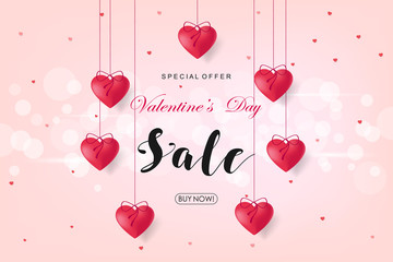 Creative Poster, Banner or Flyer design of Sale. Happy Valentine's Day celebration. Saint Valentine's day concept