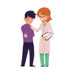 vector flat female doctor touching man in Psychiatric hospital or at psychiatrist mental patient suffering from depression anxiety. Isolated illustration on a white background. Mental illness concept
