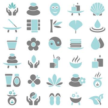 30 Wellness Icons Blue/Grey