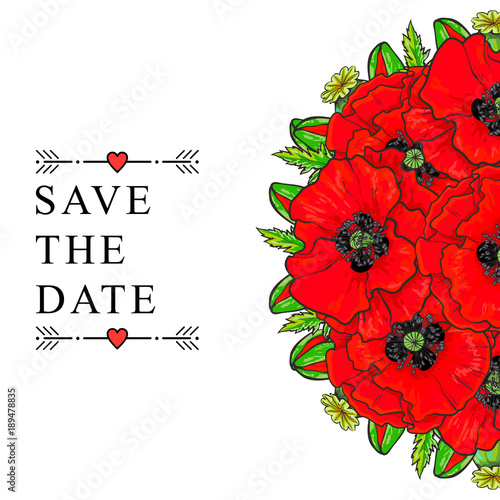 Vector sketch illustration save the date template red poppy flower vector sketch illustration save the date template red poppy flower bouquet with closed opened blossom mightylinksfo