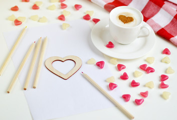 Cappuccino with heart pattern of cinnamon, Valentines Day