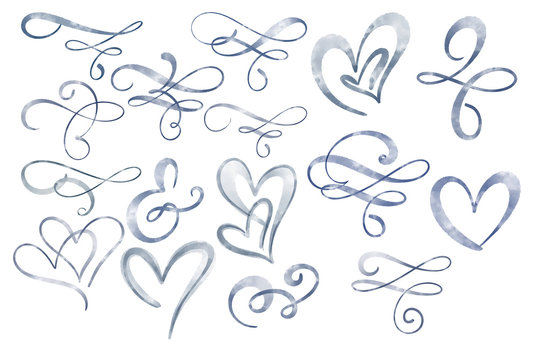 Watercolor flourish separator and heart love. Illustration Isolated on white background for greeting cards for the wedding, St. Valentine's Day