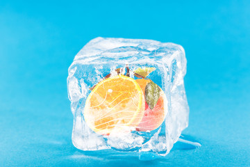 Orange Frozen Inside Ice Cube