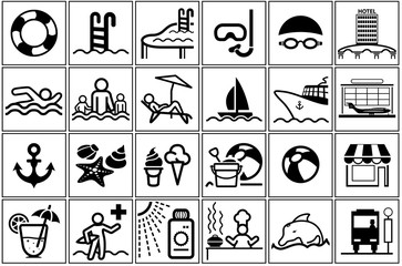 Summer Vacation Icon Collection - 24 Black and White Illustrations, Vector