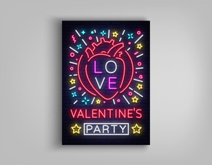 Valentines Day invitation to a party postcard. Neon sign, Design Template, Vivid Anniversary Celebration advertisement, Night Bright Nightclub Banner, Neon Style Flyer. Vector illustration