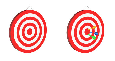 Darts Board red hitting the target illustration isolated on white background