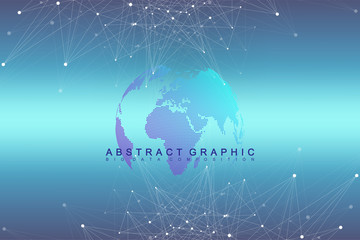 Virtual Graphic Background with World Globes. Global network. Digital data visualization. Vector illustration.