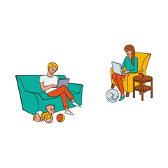 Vector cartoon people working from home, remote, freelance work set. Adult man sitting at sofa with infant baby playing around, laptop at knees, girl at armchair typing near dog, Isolated illustration