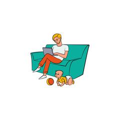 Vector cartoon people working from home, remote, freelance work . Adult man sitting at sofa, laptop at knees typing with infant baby playing with ball around. Isolated illustration, white background