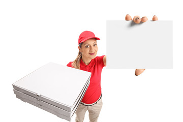 Pizza delivery girl showing a blank card