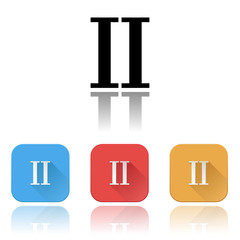 II roman numeral icons. Colored set with reflection