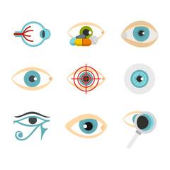 Human eye icon set, flat style